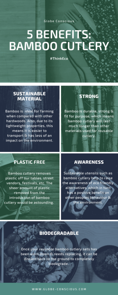eco friendly bamboo cutlery infographic